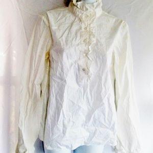 TORY BURCH RUFFLE Button Shirt Top
